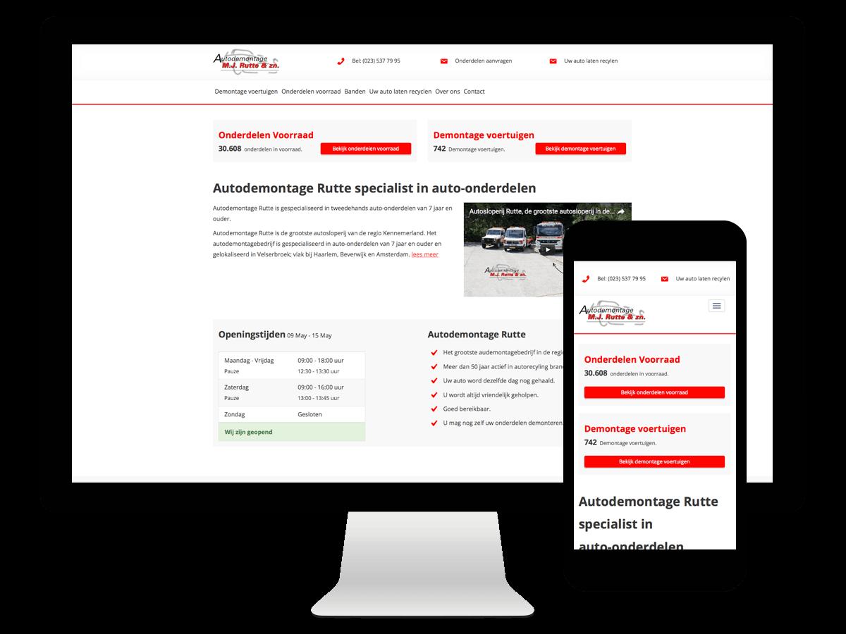 Wordpress webdesign Autodemontage Rutte