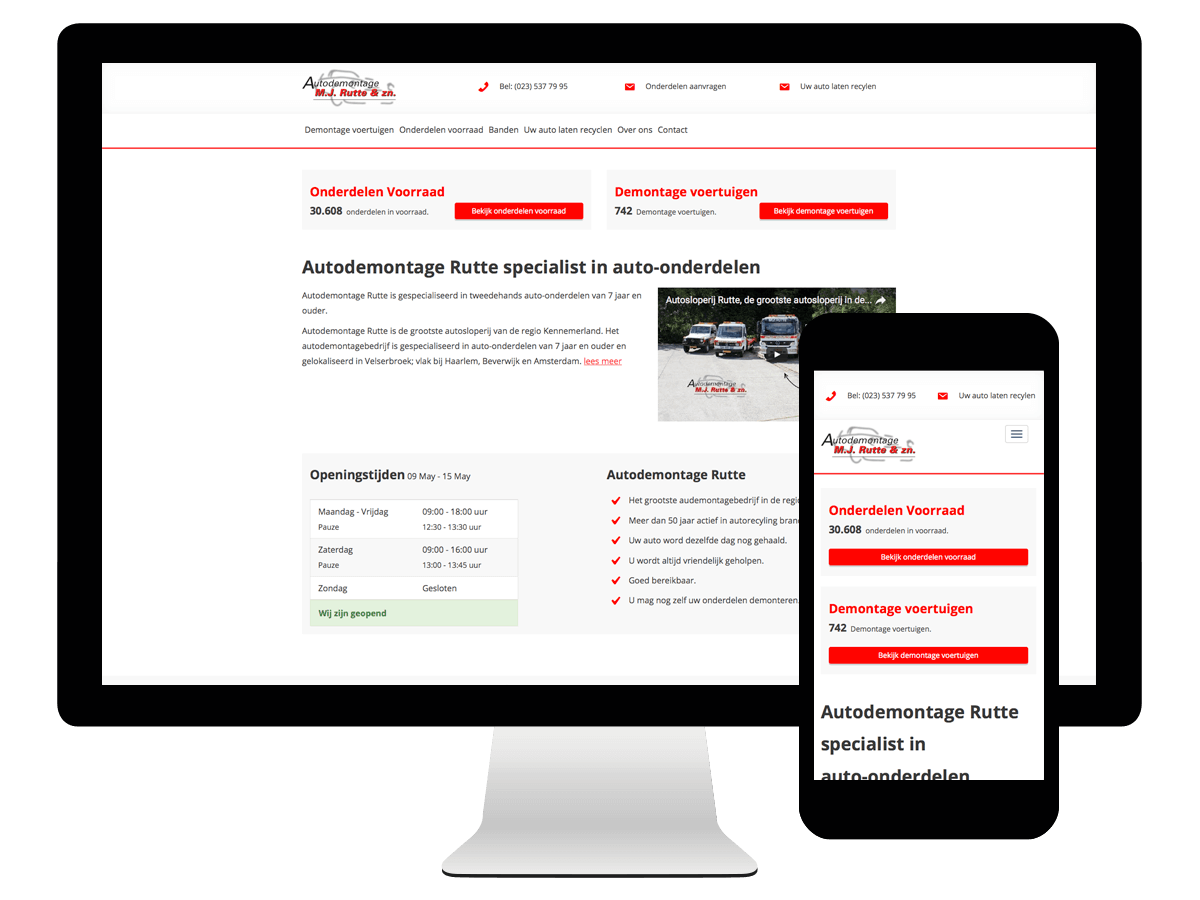 Wordpress webdesign Autodemontage Rutte